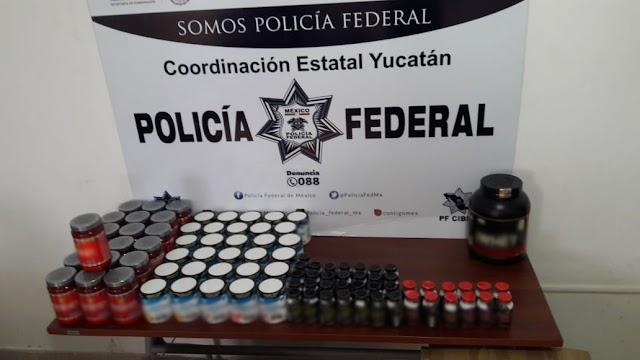 POLICÍA FEDERAL ASEGURA EN YUCATÁN APARENTE EFEDRINA EN EMPRESA DE PAQUETERÍA