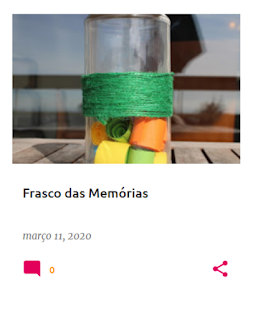frasco onde colocamos papéis com memórias sobre um tema