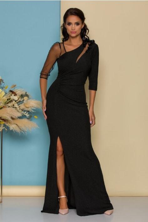 Rochie de seara cu glitter neagra lunga din lurex cu flori 3D si tull