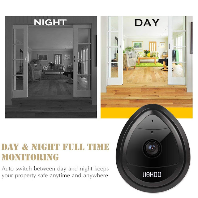 UOKOO Wireless Security Camera, 720p HD Home WiFi Wireless Security Surveillance IP Camera with Motion Detection, Night Vision/Two Way Audio Black (night black)