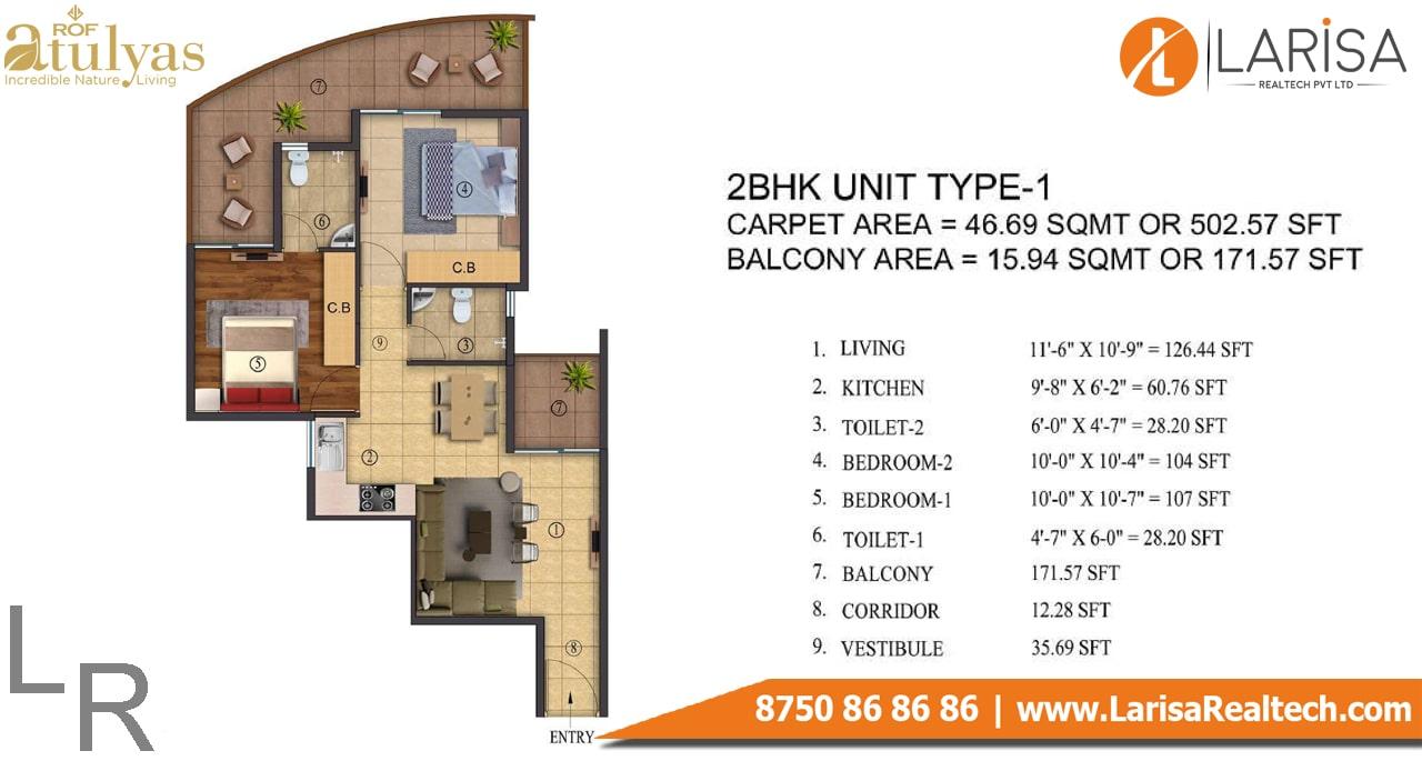 ROF Atulyas 93 2BHK Type-1 Floor Plan