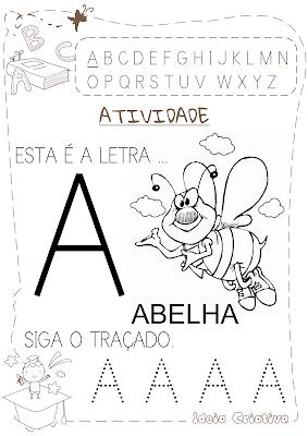 Atividades letra A com letras do alfabeto