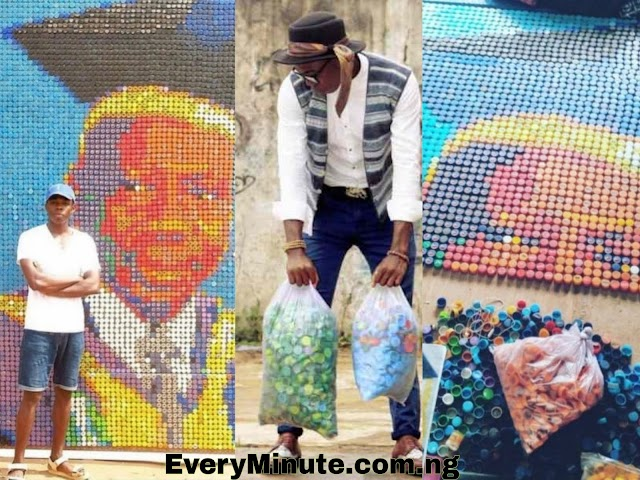 A student used over 6000 bottle Caps  to make a Portrait of his Vice Chancellor