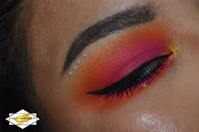 Orange Neon makeup using Vivid palette Outrageous Orange by W7, pink and orange neon makeup, sunset neon makeup, w7 vivid neon review, Vivid Outrageous Orange by W7 dupe Neon Obsession Neon Orange by Huda Beauty