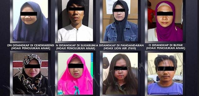 12 Penyebar Hoax Lion Air dan Penculikan Anak Ditangkap, Ini Daftar dan Fotonya