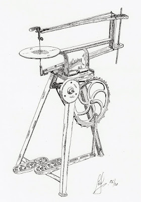 a pen drawing of a vintage treadle saw