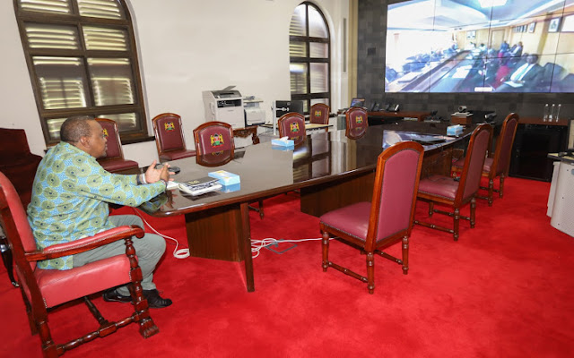 President Uhuru Kenyatta on a virtual conferencing
