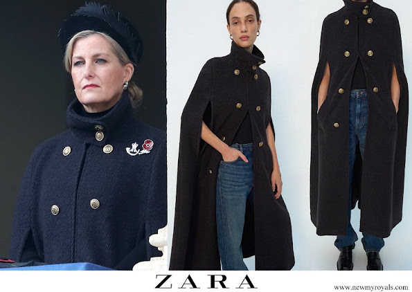 the countess of wessex wore Zara wool blend cape