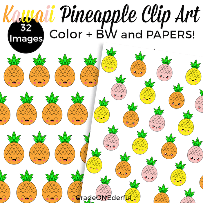 Kawaii pineapple clip art and coloring page freebie.
