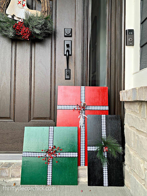 Large wood DIY Christmas presents for front porch