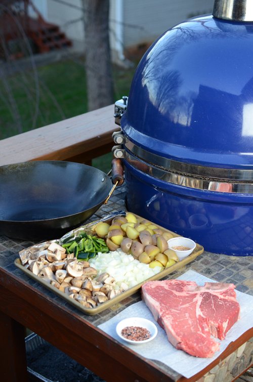porterhouse steak on the grill dome, how to cook steak on a kamdo grill, how to cook steak on a big green egg