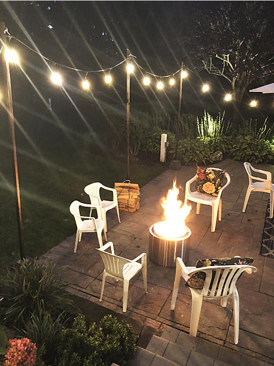 backyard at night with lights