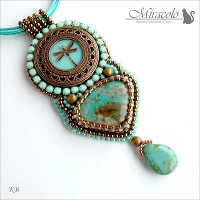 wisiorek z chryzokolą, chrysocolla pendant, wisiorek z ważką, miracolo