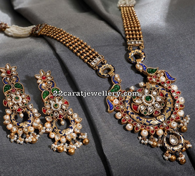 Meena Work Locket Chandbalis