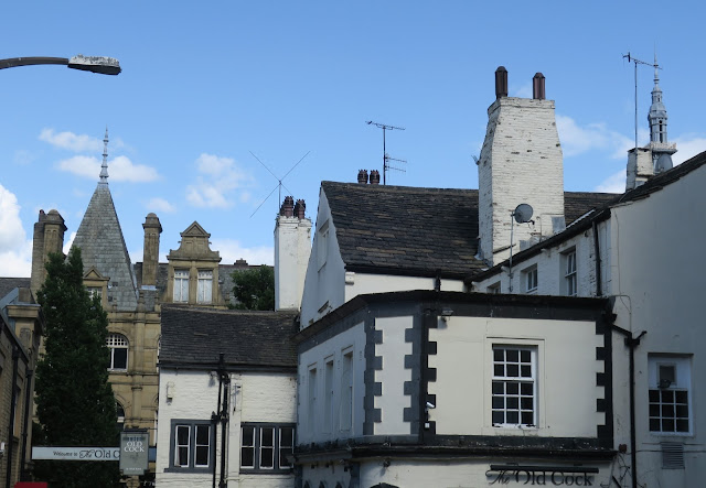 Roofs of Old Cock Pub and Borough Market, Halifax, Calderdale, West Yorkshire.