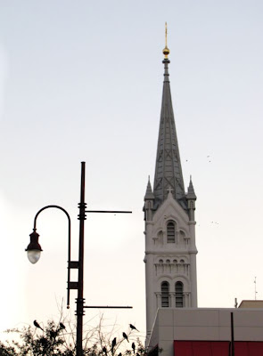 Silhouette shot: Church Tower and City Street Light