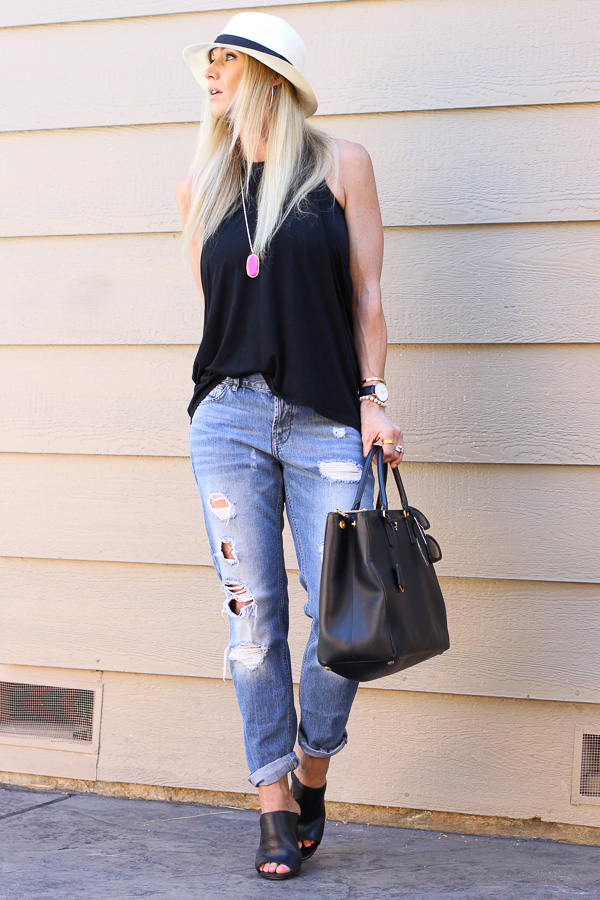 boyfriend jeans with mules