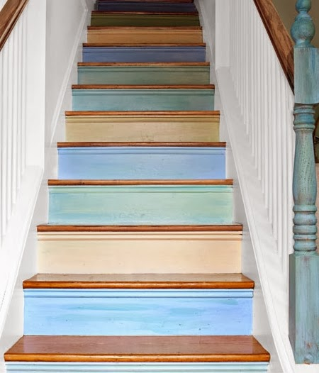 paint staircase blue