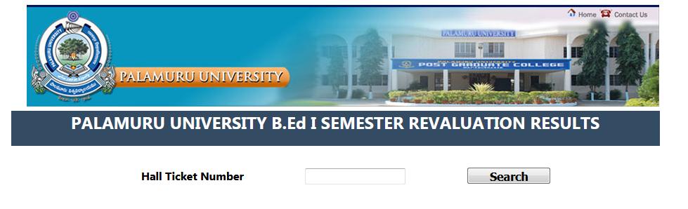 Palamuru University PU B.Ed Revaluation Results 2017