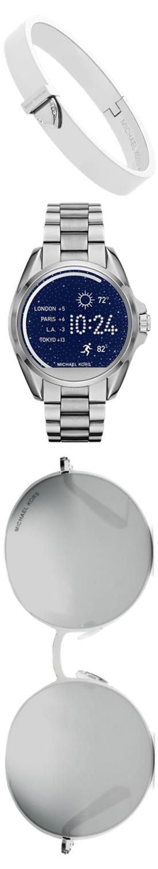 MICHAEL KORS ACCESS Bradshaw Silver-Tone Smartwatch, Pavé Silver-Tone Bracelet, and Sunglasses