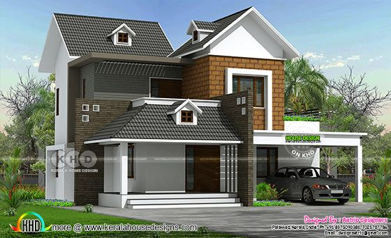 250 sq-yd modern sloping roof house rendering