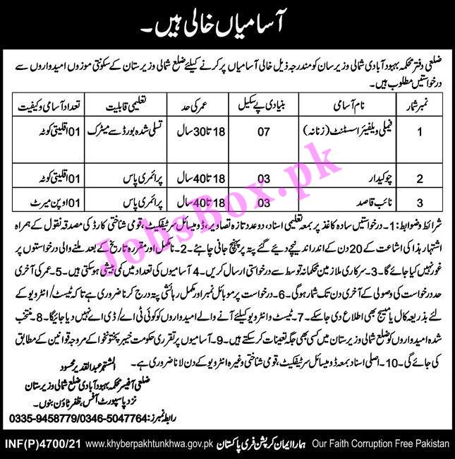 Population Welfare Department North Waziristan Jobs 2021