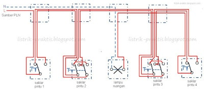 Instalasi listrik saklar silang listrik praktis blogs wiring diagram saklar silang dan tukar kendali 4 tempat ccuart Images