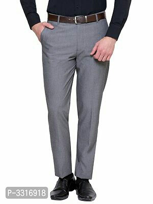Men's Synthetic Solid Formal Trousers