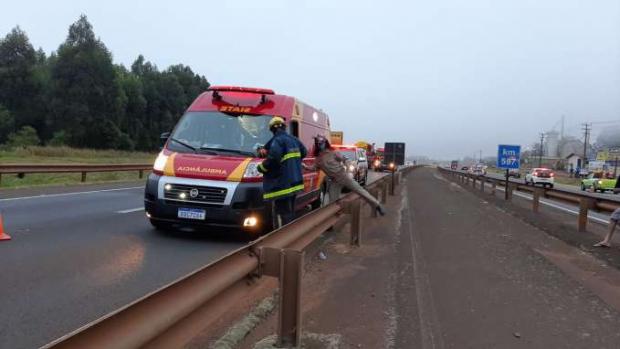 Motociclista de 21 anos morre em grave acidente de trânsito na BR 277