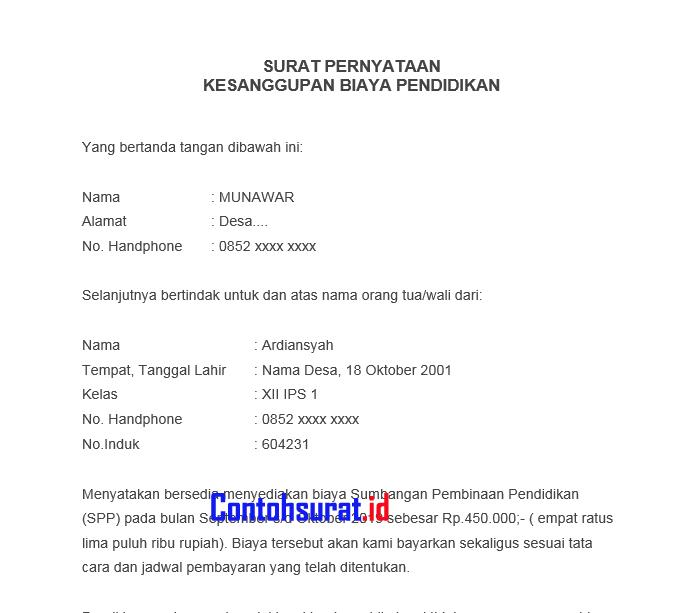 Surat Pernyataan Kesanggupan Membayar SPP - Contoh Surat