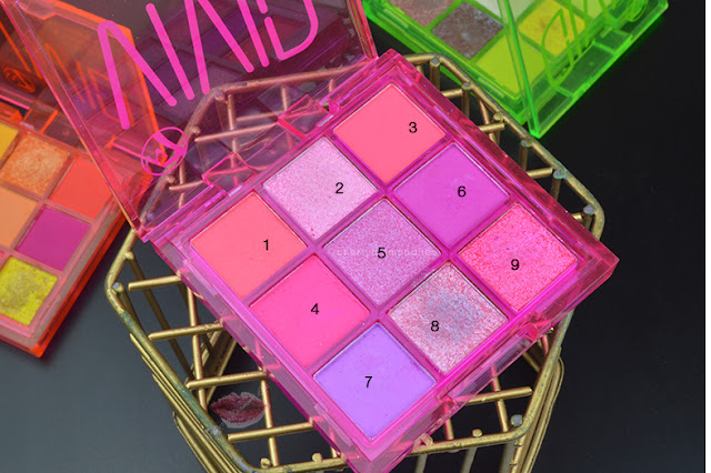 Review Vivid Punchy Pink by W7 Makeup,  Neon Obsession Neon Pink di Huda Beauty, pink neon makeup, neon violet makeup, dupe neon obsession pink huda beauty, dupe palette huda beauty
