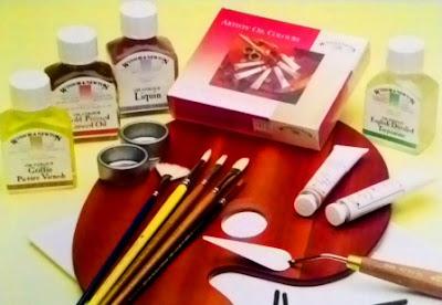 alat dan bahan melukis dengan cat minyak