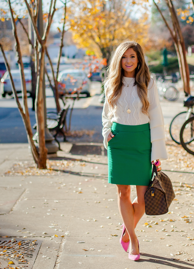 bp. tiered sweater with green j.crew factory pencil skirt