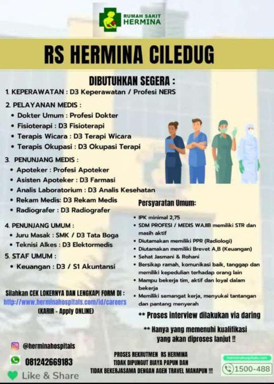 Loker Dokter RS Hermina Ciledug, Tangerang, Banten