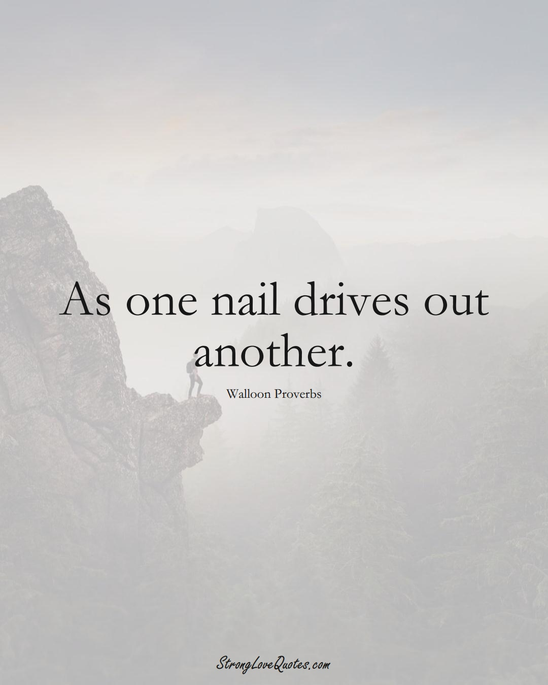 As one nail drives out another. (Walloon Sayings);  #aVarietyofCulturesSayings