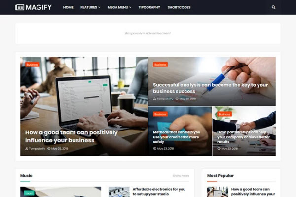 best responsive blogger templates free download, magify blogger template, blogger themes 2020
