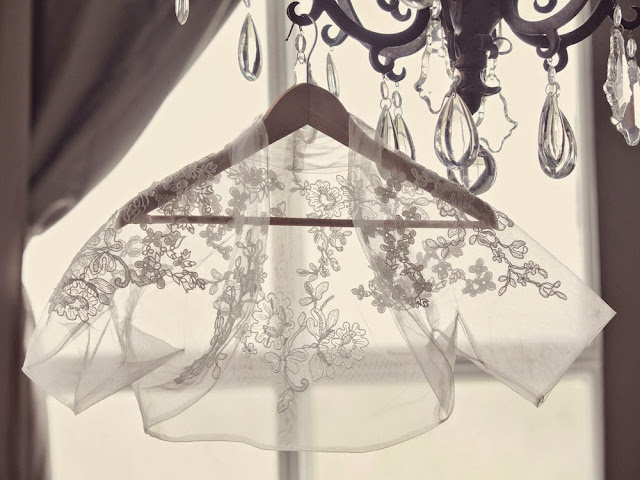 White by Vera Wang lace bolero