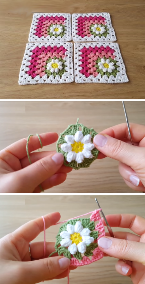 Mitered Daisy Square - Free Crochet Tutorial