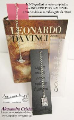 segnalibro inciso frasi personalizzate ciondolo metallo