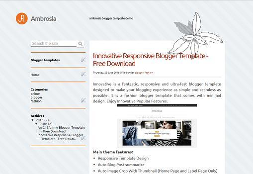 Ambrosia - Simple Blogger Template - Floral