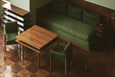 Midcentury dining suit with bench seat in olive fabric and wooden vinyl flooring