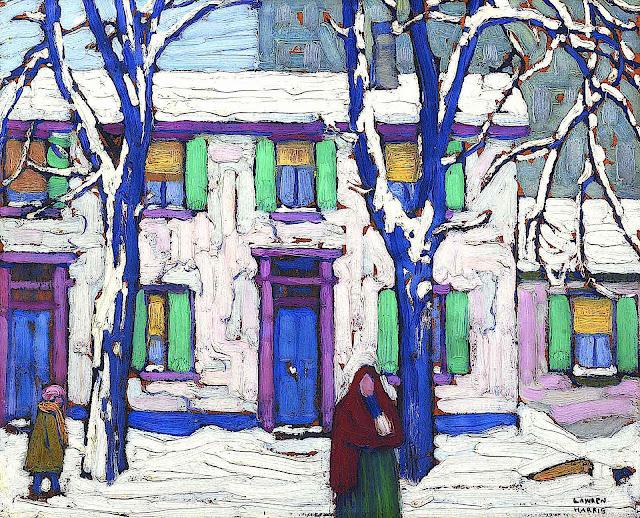 Lawren Harris art, houses in winter