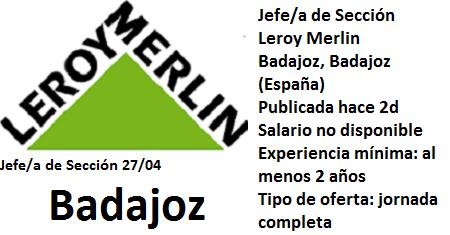 Lanzadera de Empleo Virtual Badajoz, Oferta Leroy Merlin