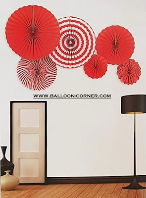 Paper Fan Set 6 Pcs Warna Merah