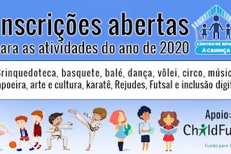 Inscrições abertas para as atividades do ano de 2020 no Ceacri