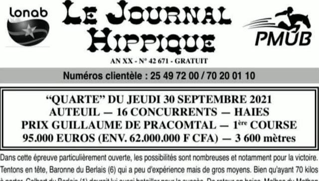 programme quinté Pronostic jeudi 30/09/2021