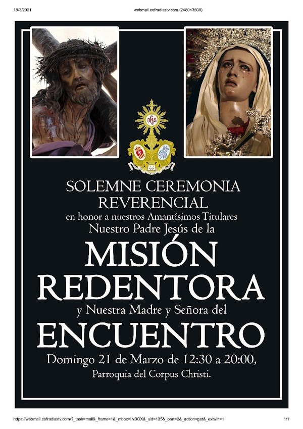 Veneración al Señor de la Misión Redentora y a la Virgen del Encuentro de Jerez de la Frontera