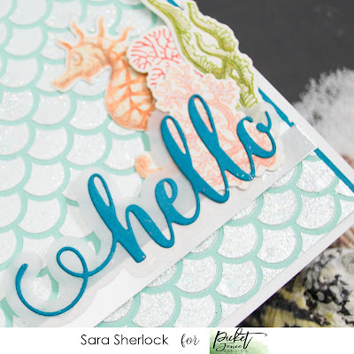 Paper Glaze, Sparkle Silk, Glitter, Texture, Stencil, Ocean Theme, Picket Fence Studios, Things on the Sea Floor, Mermaid Scales, Swim in the Sea, Hello Word Die