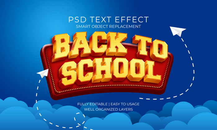 Back School Gold Red Text Effect