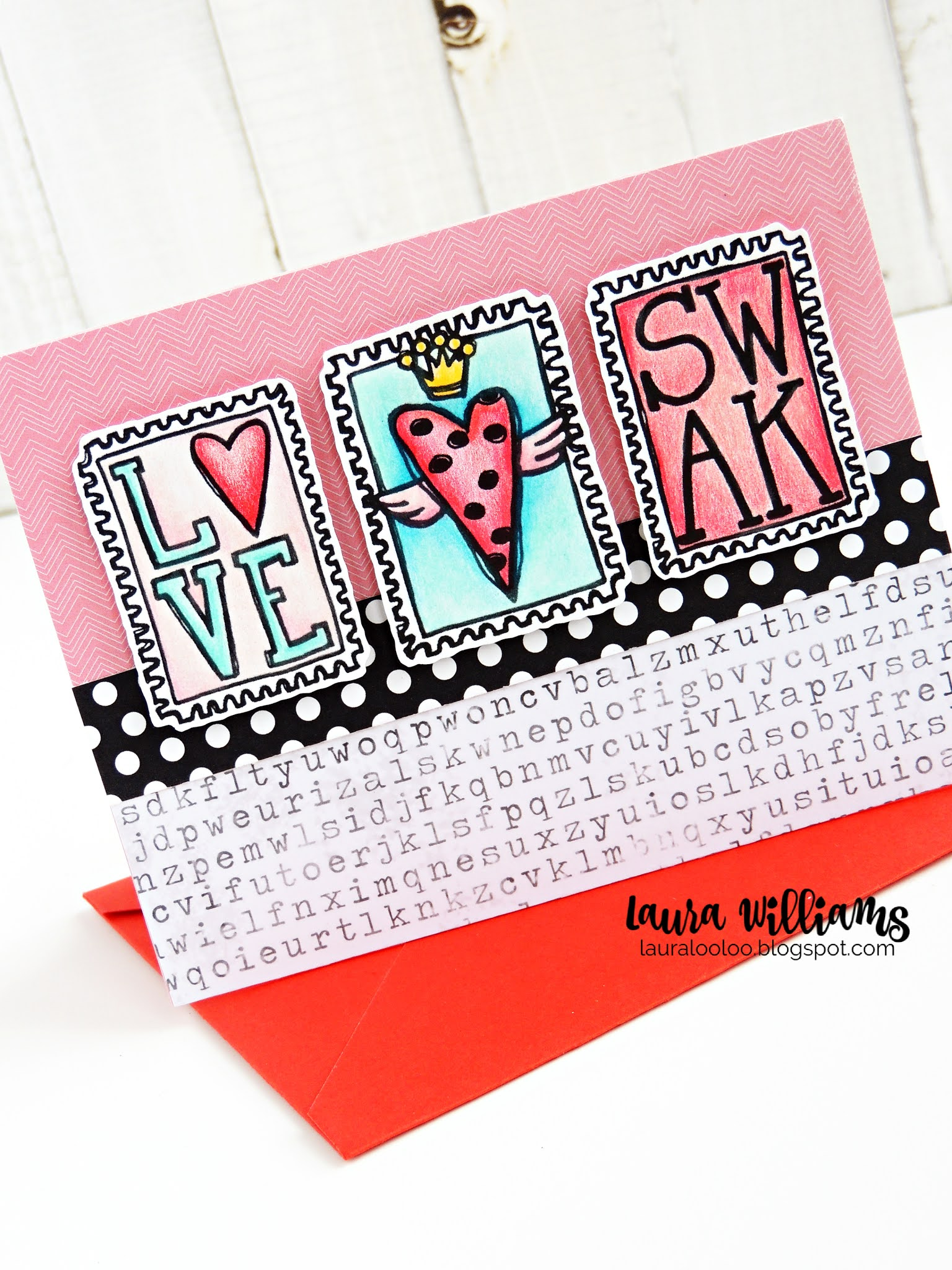 Use these postage stamp rubber stamps from Impression Obsession for handmade Valentine card ideas and crafts. Visit my blog for all the details on this card making idea and more Valentines cards made with stamps and die cutting.